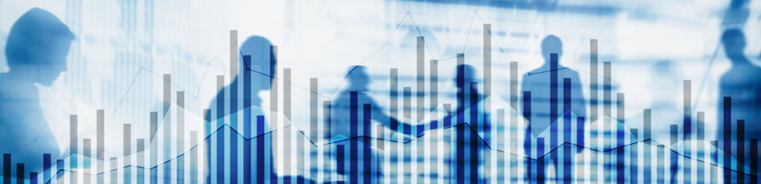 Concept of investing and analyzing a business. Abstract horizontal backgrounds