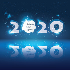 New Year Card with Speech Bubble and Happy New Year Message - 2020