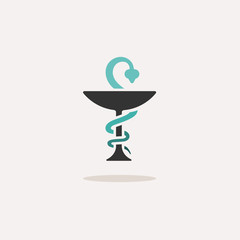 Pharmacy symbol with chalice and snake. Icon with shadow on a beige background. Medicine vector illustration