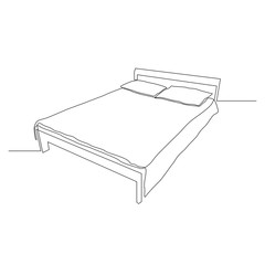 Continuous one line sleeping bed. Vector illustration.