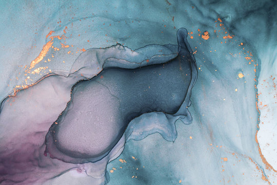Alcohol ink sea texture. Contemporary art. Abstract art background. Multicolored bright texture. Fragment of artwork. Modern art. Inspired by the sky, as well as steam and smoke. Trendy wallpaper.