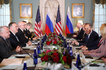 U.S. Secretary of State Pompeo and Russia' Foreign Minister Lavrov hold talks with their delegations at the State Department in Washington