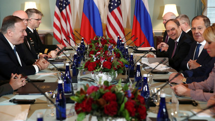 U.S. Secretary of State Pompeo and Russia's Foreign Minister Lavrov hold talks with their delegations at the State Department in Washington