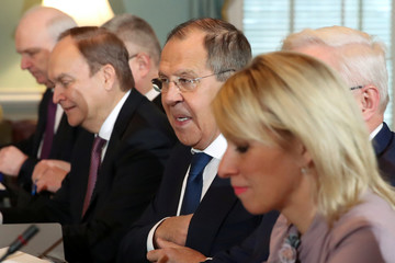 Russia's Foreign Minister Lavrov and his delegation sit down for a meeting with U.S. Secretary of State Pompeo at the State Department in Washington