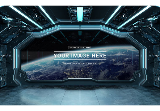 Spaceship Interior Mockup with Window View