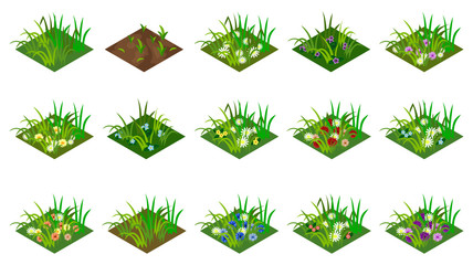 Isometric grass and flowers set. Isolated tiles to create farm or garden landscape. For cartoon or game asset. Vector illustration