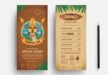 Tiki Drinks List Flyer Layout
