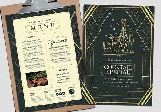 Art Deco Menu Layout in Gold and Black