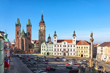 Hradec Kralove, Czechia. View of Market square with Cathedral of the Holy Spirit and White Tower
