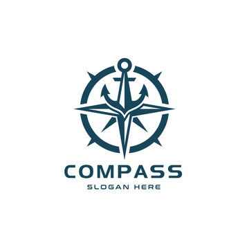 Compass Logo Design with Blue Anchor on Top
