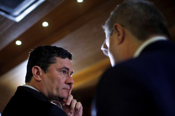 Brazil's Justice Minister Sergio Moro looks on during a seminary in Brasilia