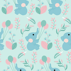 baby elephant and. flowers in a seamless pattern design