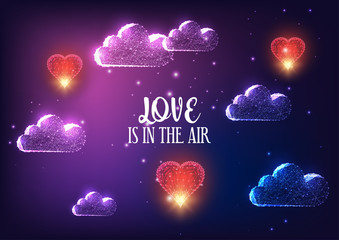 Futuristic Valentines day banner concept with glowing low polygonal clouds, red flying hearts