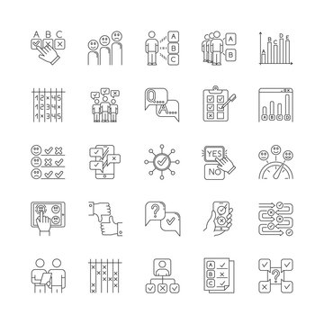 Survey linear icons set. Question and answer. Social poll. Group survey. Interview, feedback. Statistics analysis. Thin line contour symbols. Isolated vector outline illustrations. Editable stroke