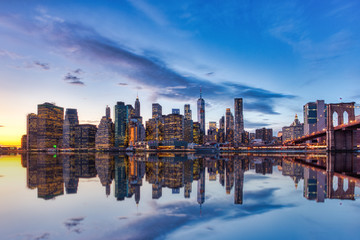 New York City Lower Manhattan with Brooklyn Bridge at Dusk, View from Brooklyn