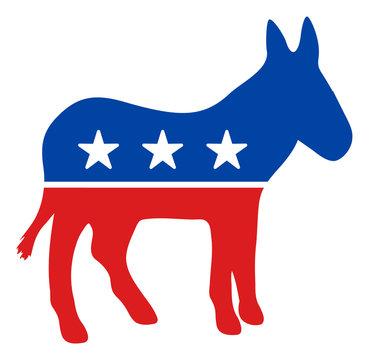 Democratic donkey vector icon. Flat Democratic donkey pictogram is isolated on a white background.