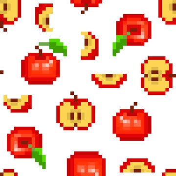 Seamless pattern with 8 bit pixel art red apple (uncut, cut in half, sliced, top view) isolated on white background. Garden fruit print for menu, fabric, clothing, food, cosmetics package design.