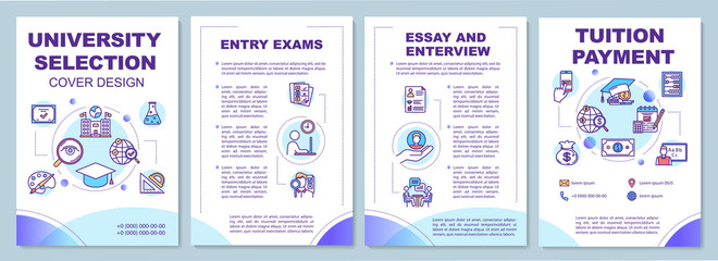 University entrance brochure template. Essay and interview. Flyer, booklet, leaflet print, cover design with linear icons. Vector page layouts for magazines, annual reports, advertising posters
