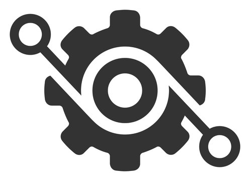 Gear solution vector icon. Flat Gear solution symbol is isolated on a white background.