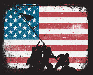 American Flag Marine Corps War Memorial Iwo Jima Silhouette on Grunge Background Isolated