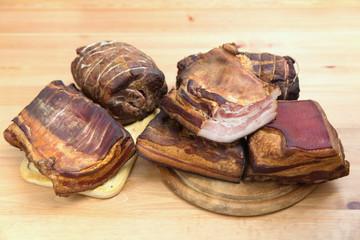 Traditionally smoked meats, ham, sausage, bacon