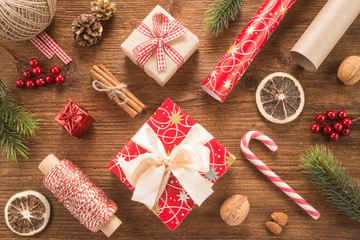 Christmas composition on wooden background
