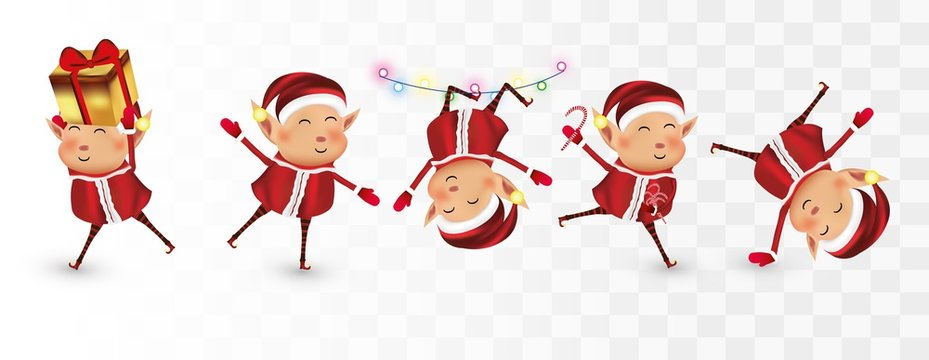Collection of Christmas elves isolated on transparent background. Little elves. Santa s helpers. Many elves with gift presents. Icon set. Vector illustration. Boy elves with red costume