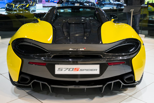 BRUSSELS - JAN 10, 2018: McLaren 570S sports car showcased at the Brussels Motor Show.