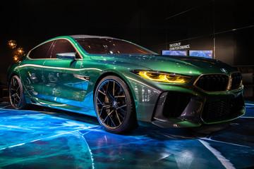 GENEVA, SWITZERLAND - MARCH 7, 2018: New BMW M8 Gran Coupe sports car showcased at the 88th Geneva International Motor Show.
