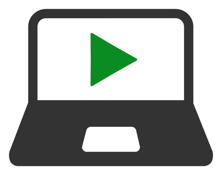 Webcast laptop vector icon. Flat Webcast laptop pictogram is isolated on a white background.