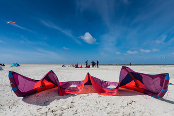 Kitesurfing in St. Peter-Ording; Germany