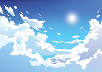 Fototapeten Pool Vector blue sky clouds. Anime clean style. Background design