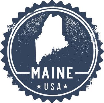 Vintage Maine USA State Stamp