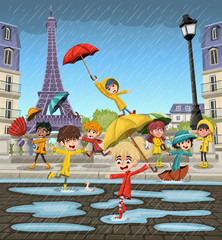 Rainy day with french cartoon children playing on the streets of Paris, with the Eiffel Tower in the background.