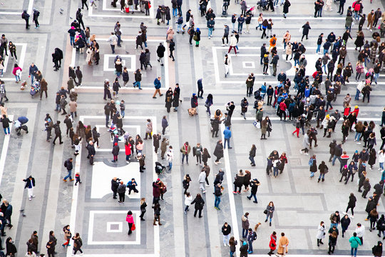 top view of crowd of people on a square