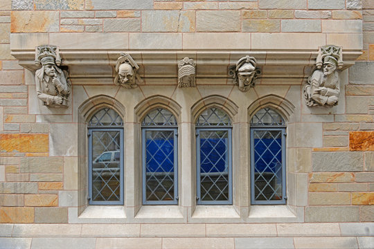 Windows on historic building in Yale University, New Haven, Connecticut, CT, USA.