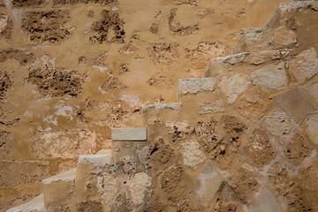 Fotobehang Oude vuile getextureerde muur Ancient stairway