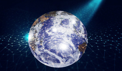 illuminated globe and network global networking concept