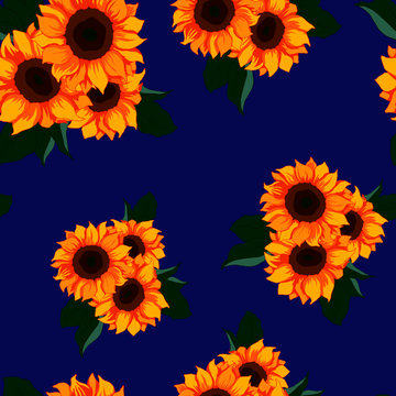 seamless pattern, sunflower and leaves in bright colors, ornament for wallpaper