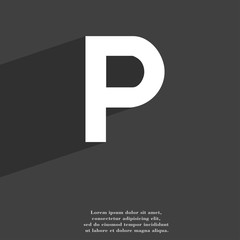 parking icon symbol Flat modern web design with long shadow and space for your text.