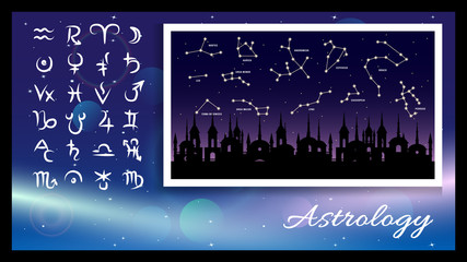 astrology signs, symbols on a light effect and dark blue background, constellation on a old city and night starry sky background. Vector illustration.