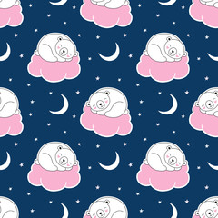 Seamless cute pattern, polar white bear sleeps on a pink cloud, starry sky, crescent moon, good night. Print for wrapping, wallpaper, fabric, textile. Vector illustration for children.