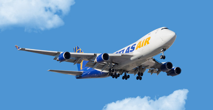 Chicago, USA - November 30, 2017: Atlas Air Cargo Boeing 747-400 on final approach at O'Hare International Airport.