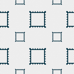 Photo frame template icon sign. Seamless pattern with geometric texture.