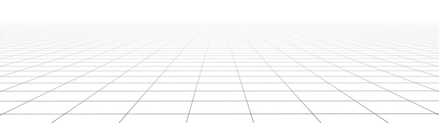 Vector gradient perspective grid. Detailed lines on white background. Widescreen illustration. Fotobehang