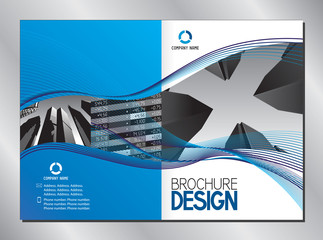 Business brochure cover template (A3 to A4 format - 420x297 mm - front and back cover)