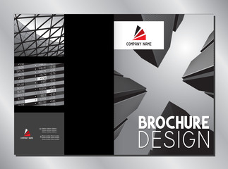 Business brochure cover template (A3 to A4 format - 420x297 mm - front and back cover) - black graphics