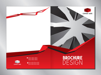 Business brochure cover template (A3 to A4 format - 420x297 mm - front and back cover) - red graphics