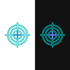 Green and purple line Target sport for shooting competition icon isolated on white and black background. Clean target with numbers for shooting range or shooting. Vector Illustration