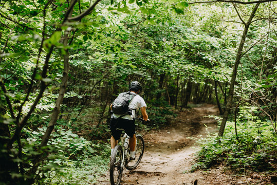 Mountain biker out on a training ride